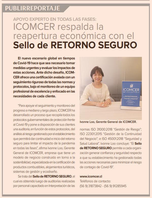 Sello Retorno Seguro ICOMCER en Diario Financiero